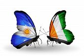 Two Butterflies With Flags On Wings As Symbol Of Relations Argentina And Cote Divoire