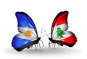 Two Butterflies With Flags On Wings As Symbol Of Relations Argentina And Lebanon