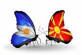 picture of macedonia  - Two butterflies with flags on wings as symbol of relations Argentina and Macedonia - JPG