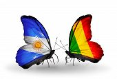 Two Butterflies With Flags On Wings As Symbol Of Relations Argentina And  Mali