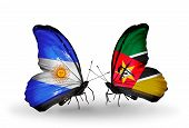 Two Butterflies With Flags On Wings As Symbol Of Relations Argentina And Mozambique