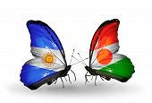 Two Butterflies With Flags On Wings As Symbol Of Relations Argentina And  Niger