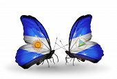 Two Butterflies With Flags On Wings As Symbol Of Relations Argentina And Nicaragua