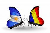 Two Butterflies With Flags On Wings As Symbol Of Relations Argentina And Chad, Romania