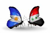 Two Butterflies With Flags On Wings As Symbol Of Relations Argentina And Syria