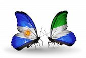Two Butterflies With Flags On Wings As Symbol Of Relations Argentina And Sierra Leone