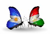Two Butterflies With Flags On Wings As Symbol Of Relations Argentina And Tajikistan