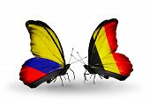 Two Butterflies With Flags On Wings As Symbol Of Relations Columbia And Belgium