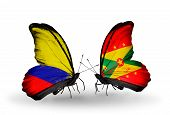 Two Butterflies With Flags On Wings As Symbol Of Relations Columbia And Grenada