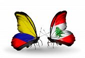 Two Butterflies With Flags On Wings As Symbol Of Relations Columbia And Lebanon