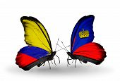 Two Butterflies With Flags On Wings As Symbol Of Relations Columbia And Liechtenstein