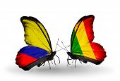 Two butterflies with flags on wings as symbol of relations Columbia and Mali
