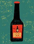 Vintage grunge style poster with a beer bottle. Retro vector illustration.