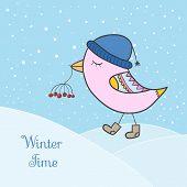 Pink Bird Snow