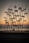 Umbrellas Statue At Sunset, Thessaloniki, Greece