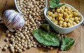 dried chickpeas and soaked with garlic and bay leaves