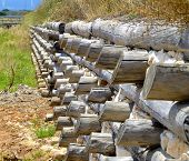 View levee channel trunks wood and stone