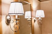 image of light fixture  - Soft lights and miror in the modern luxury bathroom - JPG