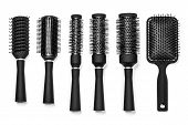 stock photo of bobbies  - Professional hairdresser tools isolated on white background - JPG
