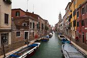 Italy,Venice,Dorsoduro January 15:Rio de S.Barnaba And Houses In Rainy Winter Day