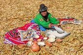 Native Selling Local Goods - Lake Titicaca, Peru