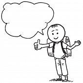 Schoolkid with thumb up speaking