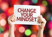 Change your Mindset card with colorful background with defocused lights