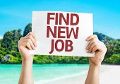 Find New Job card with a beach on background
