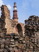 Qutb Minar surrounded by its ruins, Delhi, India