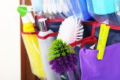 pic of household  - Household chemicals in holder hanging on wooden door - JPG