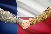 picture of texans  - Soldiers handshake and US state flag  - JPG