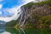 stock photo of fjord  - Waterfall in Geiranger fjord Norway  - JPG