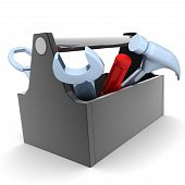 stock photo of rework  - Toolbox white and isolated background  - JPG