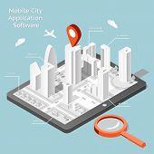 image of gps  - Paper mobile city navigation application software - JPG
