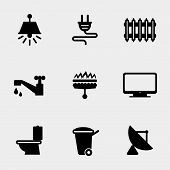 picture of tv sets  - Home utilities icons set - JPG