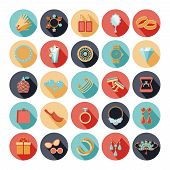 stock photo of brooch  - Fashion accessories flat icons set - JPG