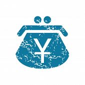 stock photo of yen  - Grunge blue icon with image of purse with yens - JPG