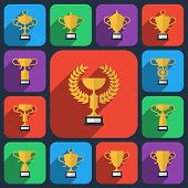 stock photo of prize  - Trophy flat icons set - JPG