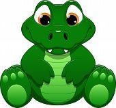 image of crocodiles  - Vector illustration cute funny crocodile on a white background - JPG