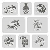 ������, ������: set of monochrome icons with American Indians relics dingbats characters part 6