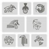 Постер, плакат: set of monochrome icons with American Indians relics dingbats characters part 6