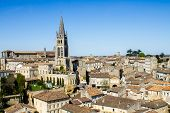 foto of bordeaux  - View of the bell tower of the monolithic church in Saint Emilion Bordeaux France - JPG
