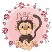 foto of child missing  - Greeting card cute Monkey girl with flowers - JPG