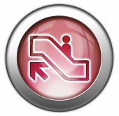 picture of escalator  - Icon Button Pictogram with Escalator Up symbol - JPG