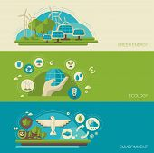 image of save earth  - Flat design vector concept illustration with icons of ecology - JPG