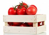 stock photo of crate  - Tomatoes in wooden crate on white background - JPG
