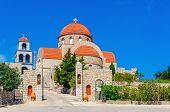 picture of greek  - View on Greek monastery with classic red roofing - JPG