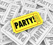 picture of gathering  - Party word on tickets to invite you to a special birthday or anniversary party or exclusive event or celebration gathering - JPG