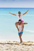 picture of caribbean  - Couple of friends having fun at the beach in the Caribbean - JPG