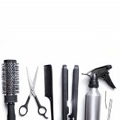 image of hair cutting  - hairdressing accessories set for cutting and styling hair isolated with white background down - JPG